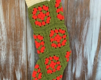 SALE- Vintage Christmas Stocking-Crocheted Granny Squares