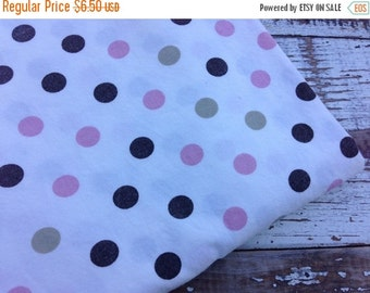 40% OFF- Polka Dot Fabric-Pink and Brown-Reclaimed bed Linens