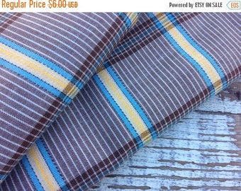 SALE- Vintage Fall Plaid Fabric-Brown and Yellow-Cotton Blend