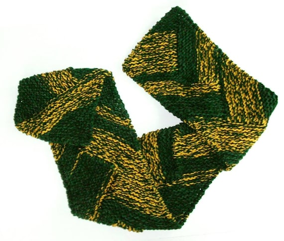 team spirit scarf green and gold sports team scarf knit