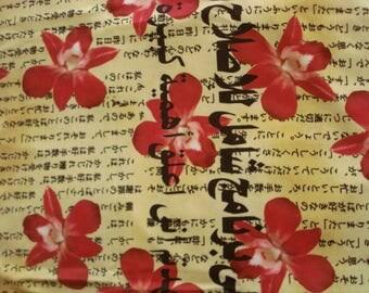 Designer Lycra Oriental Print Fabric Last One