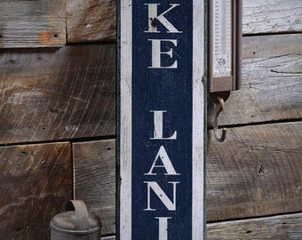 Vertical Lake Sign, Custom Lake Sign, Lake Sign Wood, Lake Sign Wooden, Rustic Lake Sign, Lake Sign -Rustic Hand Made Wooden Sign ENS1000912