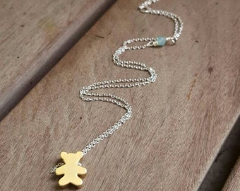 A Pocket for Corduroy necklace || brass, Swarovski, silver