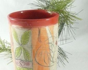 Ceramic Pencil Holder with owl, Teacup, Vase, Ceramic toothbrush holder, Gift for Him, wine tumbler, pottery mug kitchen utensil holder 631