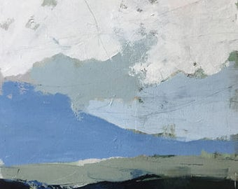 abstract landscape painting blue abstract 24x30