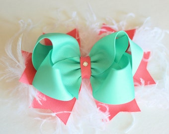 Lucite and Coral Rose Sassy Bow with Spikes - Choose Bow or Headband - large bow with feathers - girls bows - bows with spikes