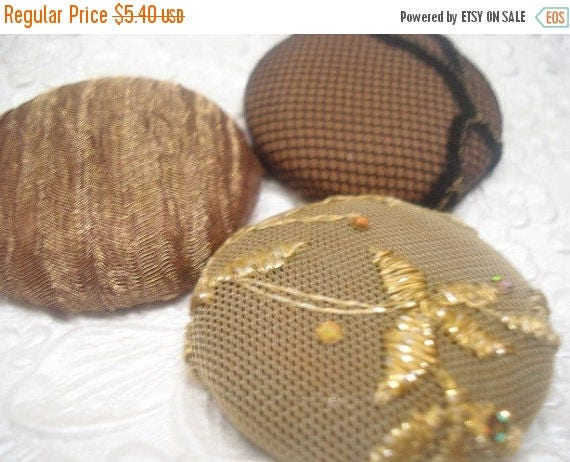 CLEARANCE - Brown/gold - 3 fabric  covered buttons -1.5 inches - size 60 - only one set available