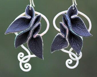 Leather Petals with a peek of rainbow Statement Earrings - silver - black lambskin - leather dangle earrings - OOAK
