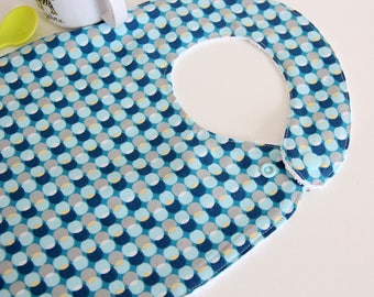 Baby bib - dots - bubbles - blue - yellow - gray - white - graphic - bamboo - baby gift - baby shower - baby meal - baby - birthday