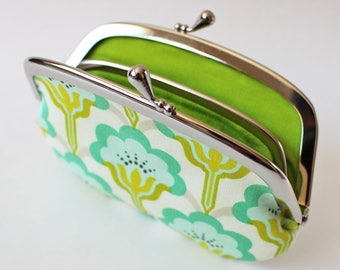 Coin purse wallet - sea green flowers kiss lock frame purse change purse emerald green turquoise floral leaf green lime green spring purse
