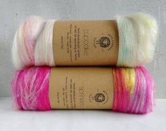Carded Art Batts - Cupcake & Sprinkles - 100g - Merino Wool and  Silk Blend - Fibre for Spinning - Felt Making - Magenta - White - Pink