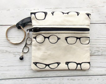 Eyeglass Ear Bud Case - Ear Bud Holder - Earphone Case - Glasses Coin Purse - Nerd Glasses Gift - Eye Glasses Key Chain Case - Hipster Gift