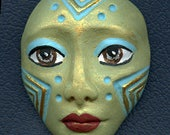 Polymer Clay One of a Kind  Spirit Doll  Green Detailed Face Cab Un Drilled SF 5