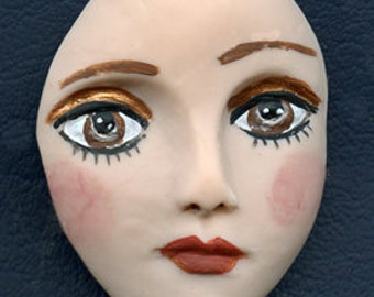 """Polymer Clay  Detailed  2""""x 1 1/2 """" Art Doll Face Cab with Brown Eyes ADCP 1"""