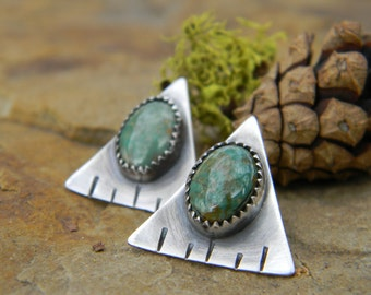 Kings Manassa Turquoise studs - hand cut, stamped sterling silver triangles - Post earrings