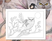 Kit and Clowder RESERVED listing - Friendship Fairy and Owl - Printable - Adult Coloring Page - Molly Harrison Fantasy Art