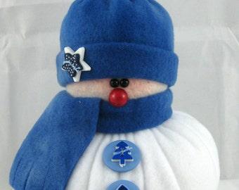 Handmade Stuffed Snowman Decoration, Christmas Holiday Decor, Snowman Christmas Ornament, Winter Decor, Little Bit in Shades of Blue Fleece
