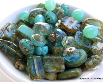 Aqua Blue Green Bead Soup Mix  - Czech Glass Beads 30 grams from Mountain Shadow