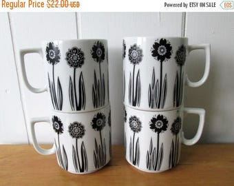 NEW ROOF SALE 4 vintage black and white flower mugs
