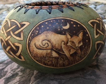 Fox small bowl Gourd Art Pyrography handmade