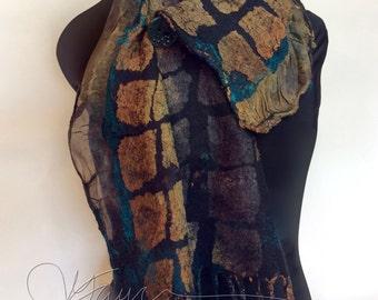 Nuno Felted scarflette  a SugarPlum Original by J. Gauger