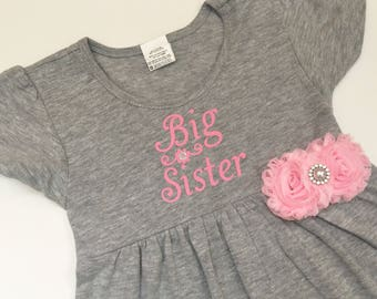 Big sister dress--- grey and pink dress..