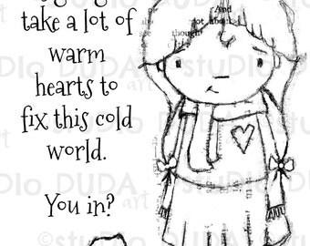 Warm Hearts Needed 2 Versions Digital Stamp - Printable - Art to Color by STUDIODUDAART