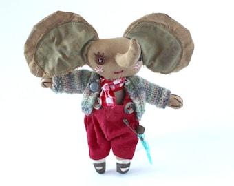 Jack Fellows, elephant, Primitive cloth doll,
