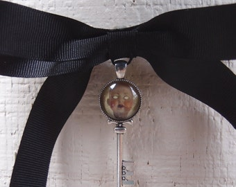 Creepy Doll Head Skeleton Key Bow Tie Brooch  by Ugly Shyla - bowtie - pin - bow - gothic key - gothic jewelry - Ugly Art Dolls