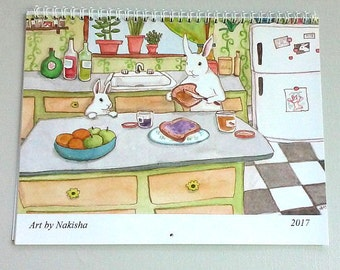 RESERVED FOR L - 2017 Wall Calendar - New Rabbit Paintings by Nakisha