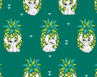 Pineapple in Evergreen Lilo and Stitch Disney Woven Cotton Fabric BTY