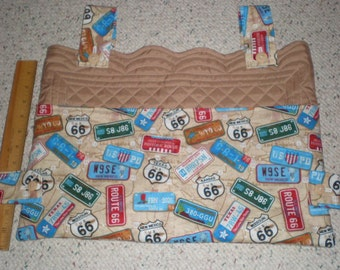 Tan Quilt and Road Maps and License Plates Print Walker Bag Tote