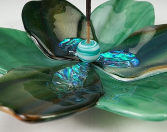 Green blossom incense holders, art glass incense holder, incense burner, yoga incense holder, meditation incense holder