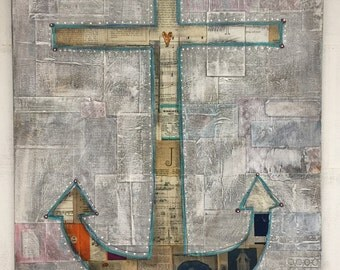 Anchor : mixed media painted collage on canvas
