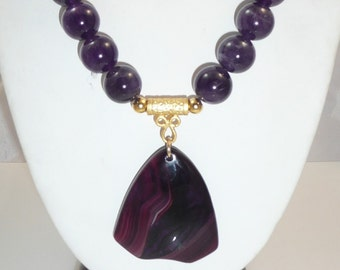 Candace - agate pendant, genuine amethyst, African tomato beads, red agate, 24 kt. gold plated washer beads, vermeil toggle