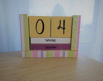 Wooden Perpetual Block Calendar - Month and Day - Colorful Confetti Stripes
