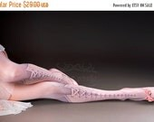 cyber monday sale // Tattoo Tights - Lolita Corset Light Pink one size full length printed closed toe tights pantyhose, tattoo socks, lace u
