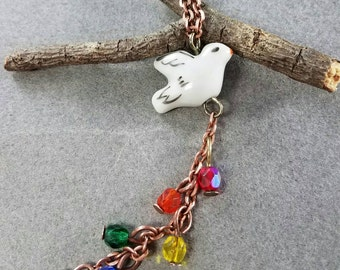 Peace Dove and Rainbow Necklace