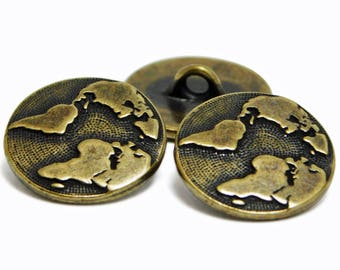 TierraCast - Bronze Buttons - Brass Buttons - Metal Buttons - Shank - Earth - Leather Jewelry Button - 17mm (3954) 2pcs