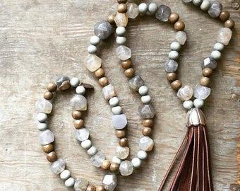 Rustic Smoky Quartz Nugget, Wood Bead & Leather Tassel Necklace