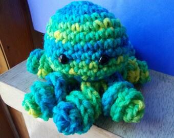 Crochet Octopus Amigurumi, Octopus Plush, Stuffed Animal, Cute, Toy, Plushie, Stuffed Octopus, Basket Filler, Limes and Blue, Palm Size