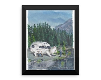 CAMPER CAT print by Ray Young Chu camping rv gift present children kids baby child cat funny cute meme kitchen bathroom living room garage
