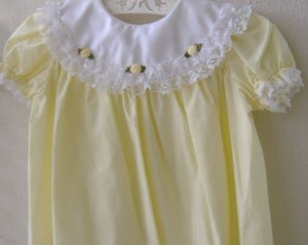 Baby Girl Yellow Summer Dress; Yellow Roses, Lace, Size 9-12 Months