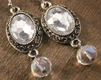 Vintage style glass crystal and antique silver handmade earrings