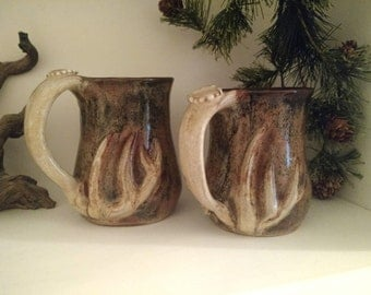 Deer Mug set of 2 father and son deer antler mugs, a handmade stoneware pottery gift for the hunters coffee, in camoflauge 005-6