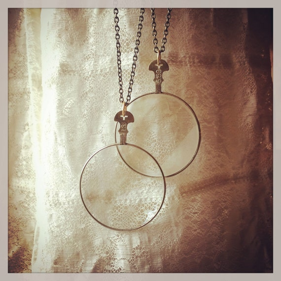 MYSTERIEUX Necklace.....Vintage Optic Lens