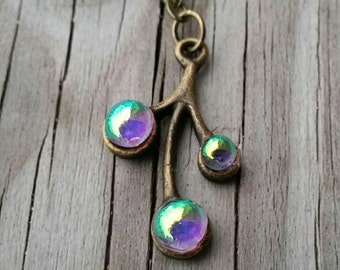 Antique Bronze and Dichroic Glass Pendant Necklace