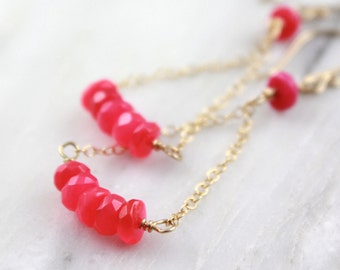 Hot Pink Chalcedony Gold Chain Triangle Earrings