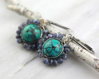 Turquoise and Blue Labradorite Flower Earrings