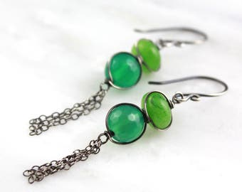 Apple Green Chalcedony and Green Onyx Tassel Earrings